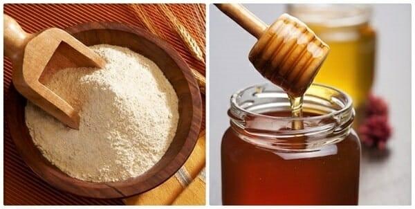 mật ong và cám gạo