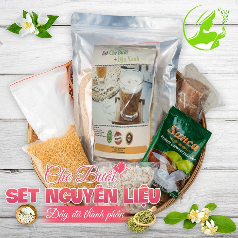Set nguyên liệu nấu chè bưởi An Giang , chè bưởi đậu xanh( set 40-45 chén)